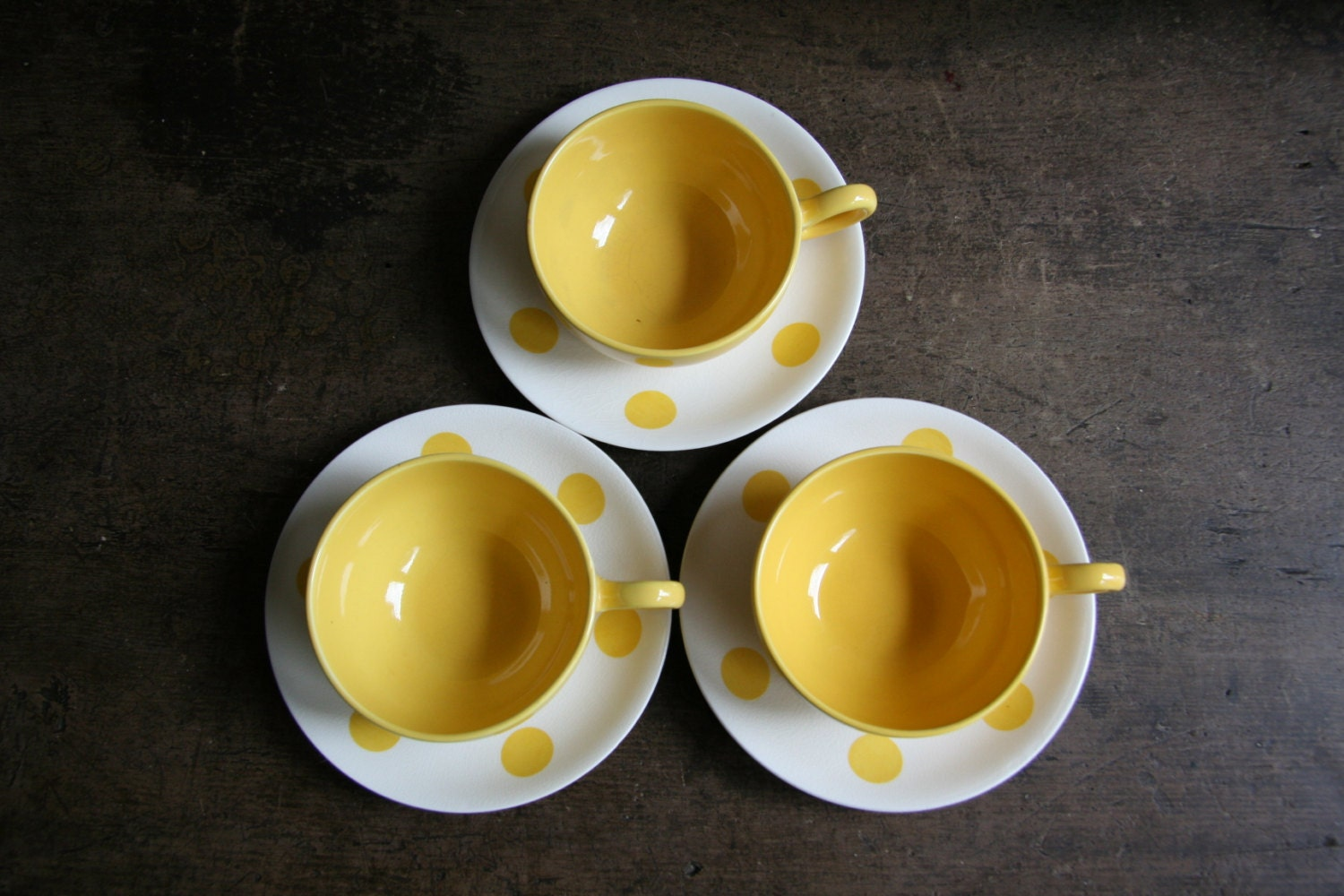 Vintage Trio of Meakin Sol Polka Dot Yellow & White Teacups and Saucers - Excellent Condition - FoundByHer
