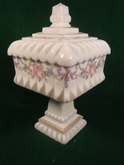 Vintage Westmoreland Handpainted Milk Glass Candy Dish By