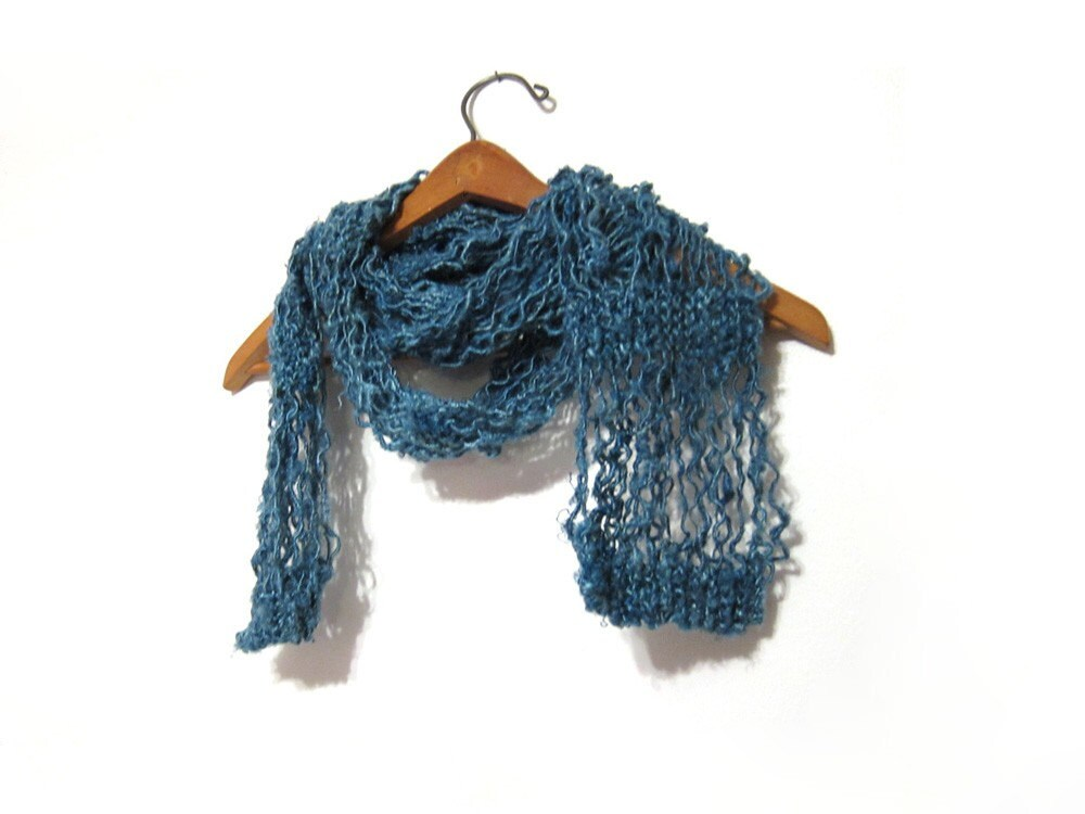 Spring and Summer Scarf Handknit from Handspun  Fair Trade Eco Friendly Renewable Resource Vegan Banana Fibre Fiber in Teal by ImpossiblyAlice