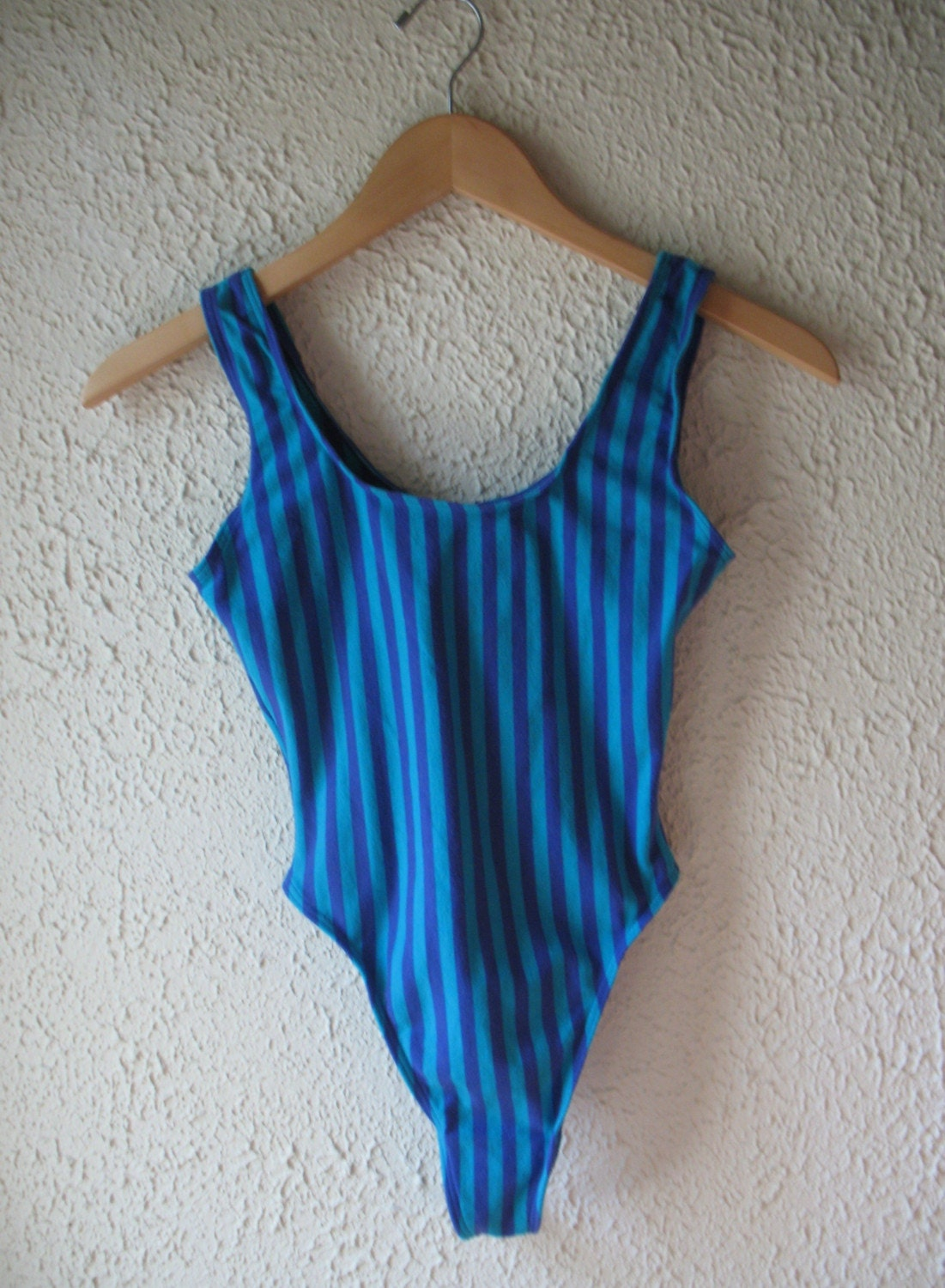 Let Me Hear Your Body Talk Vintage 80s Striped Cotton Blend Thong Leotard by Jazzercise sz m