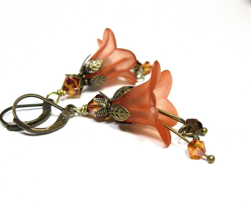 Tangerine, Orange, Bronze, Swarovski, Flower Earrings