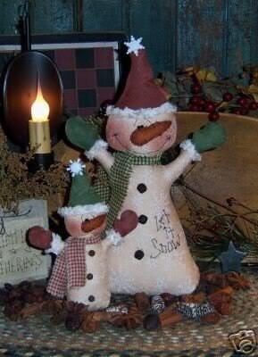 Primitive Let it Snow Snowman Winter Doll Pattern 197
