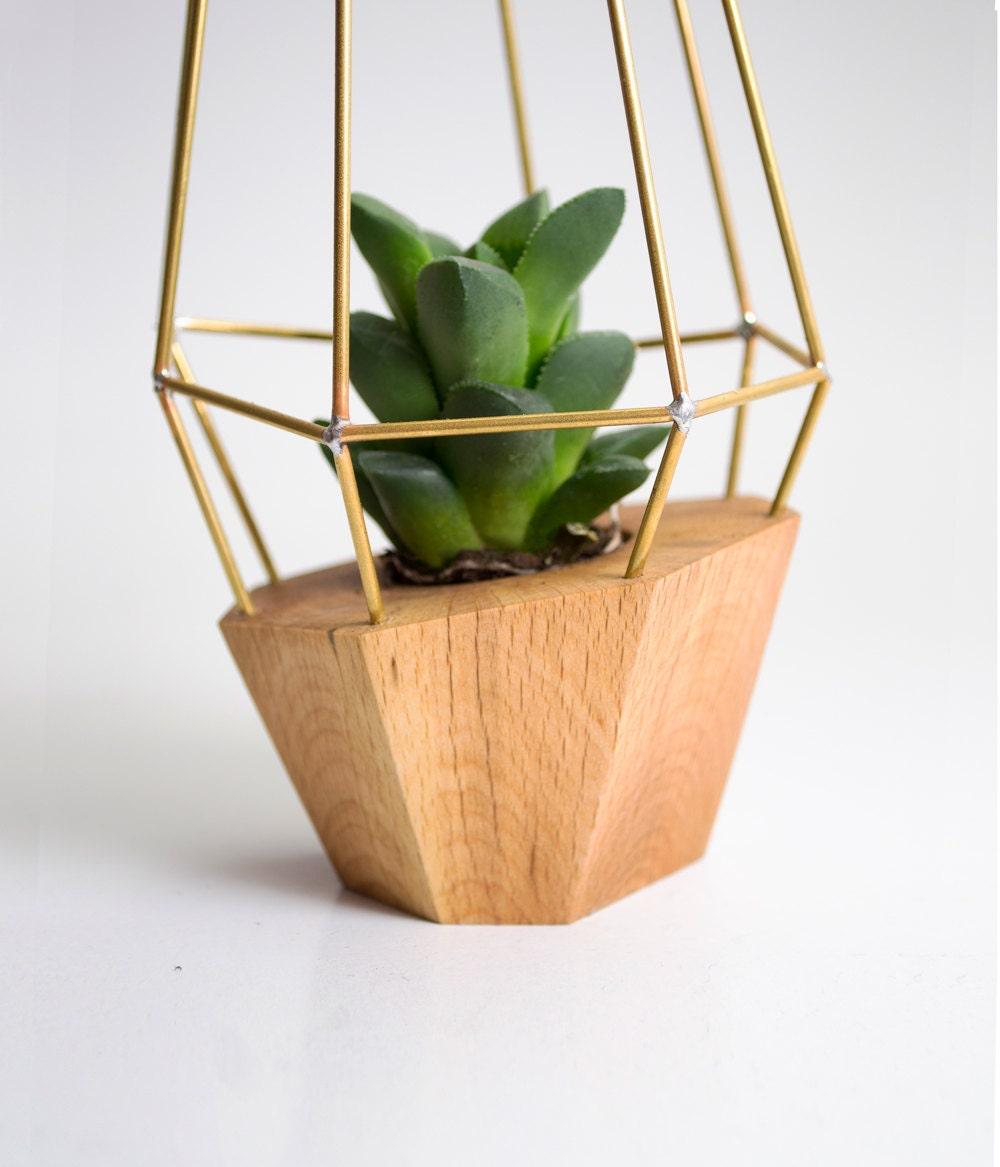 Elegant wooden planter geometric wood brass gem by for Wooden cactus planter