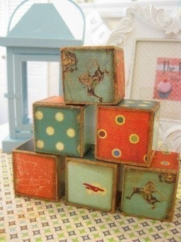 Vintage Cowboy and Aeroplane Wooden Baby Blocks-SET OF 6