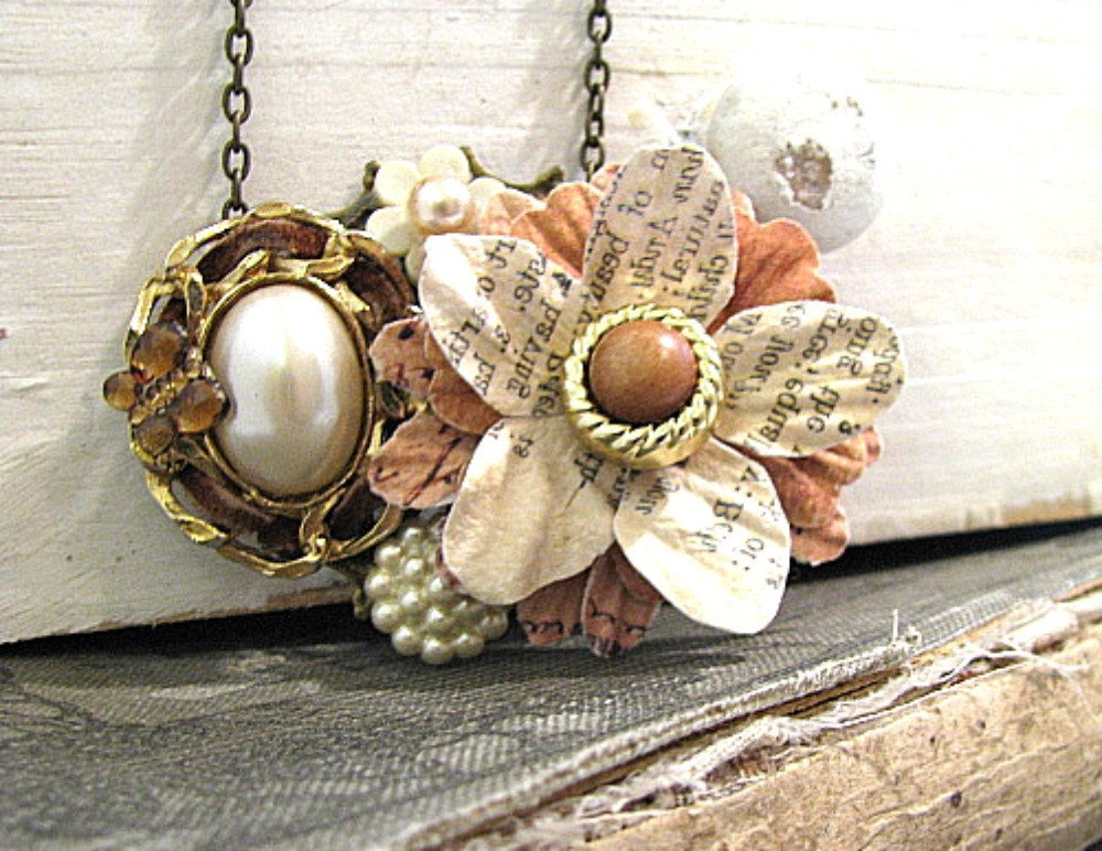 Delicate Flower Collage Necklace