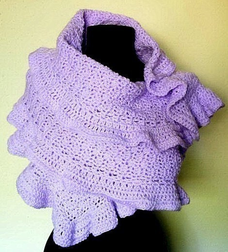 Easy Crochet Shawl Patterns Beginners : Ruffled Shawl Wrap Crochet Pattern PDF EASY by timaryart ...