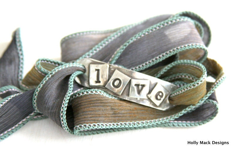 Wrap bracelet, handcrafted fine silver charm, Love, PMC, hand dyed silk ribbon, boho, summer, gray, green, bracelet