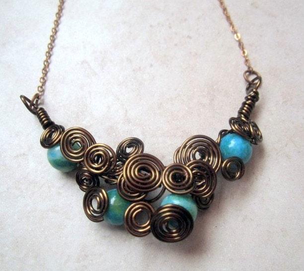 Vintaj Brass Scrollwork Necklace with by DebrasDivineDesigns