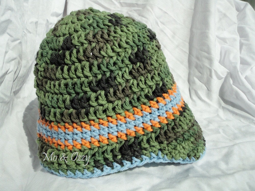 Free Shipping- Toddler Boys Crochet Visor Sun Hat with Brim - Green Camo with Blue and Orange