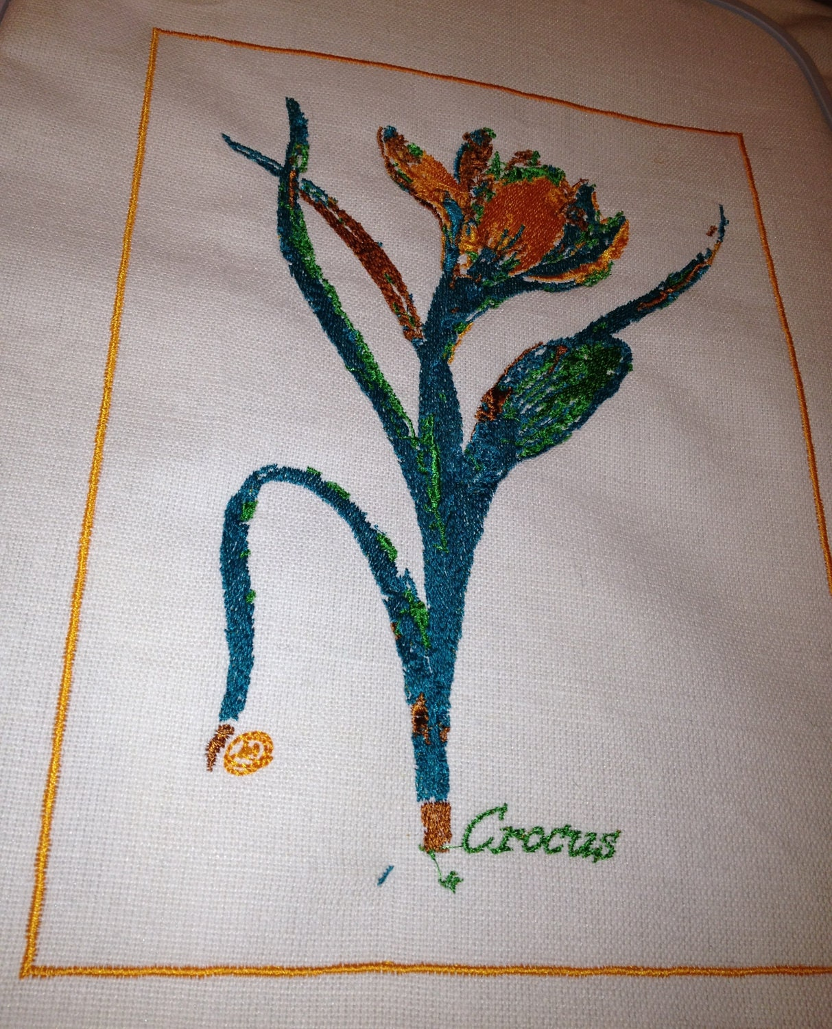 Crocus, Botanical Abstract Embroidery Art , Throw Cushion