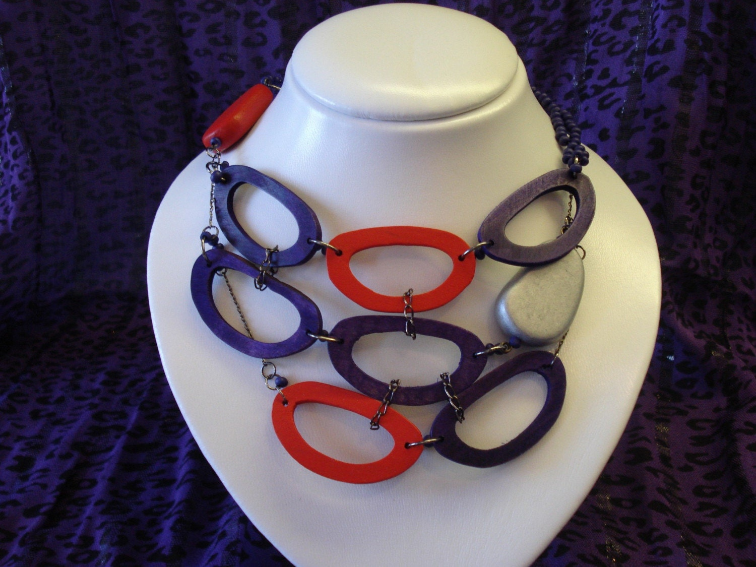 Modern Wood Necklace ,Purple, Red, Chain,