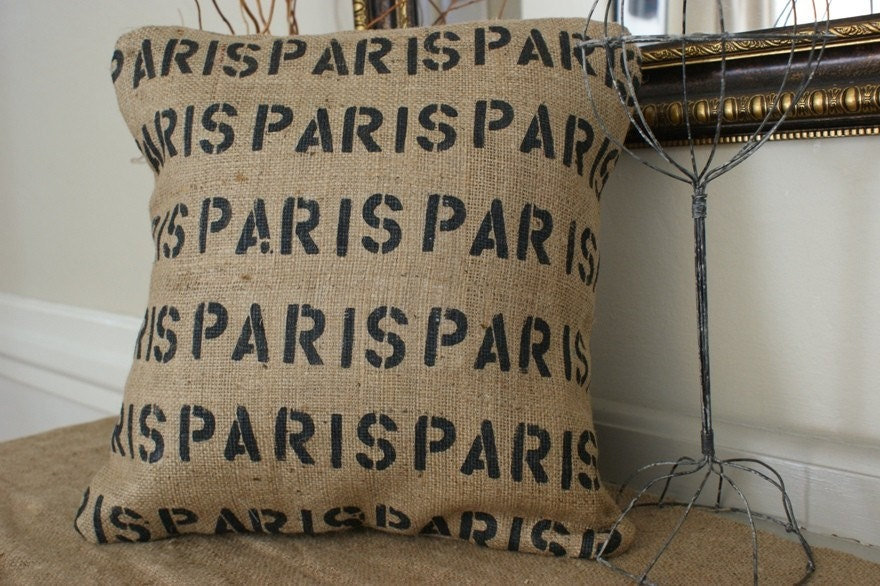 Celebrate Paris Burlap Pillow Cover
