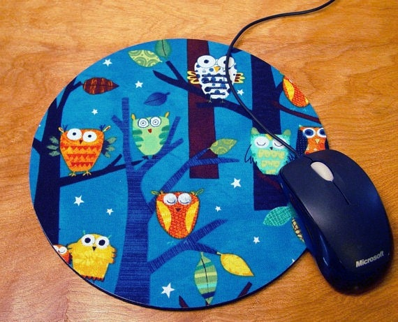 """Mouse Pad / Hot Pad - Robert Kaufman """"Forest Fun Owls"""" Spring w/ FREE Matching Coaster"""