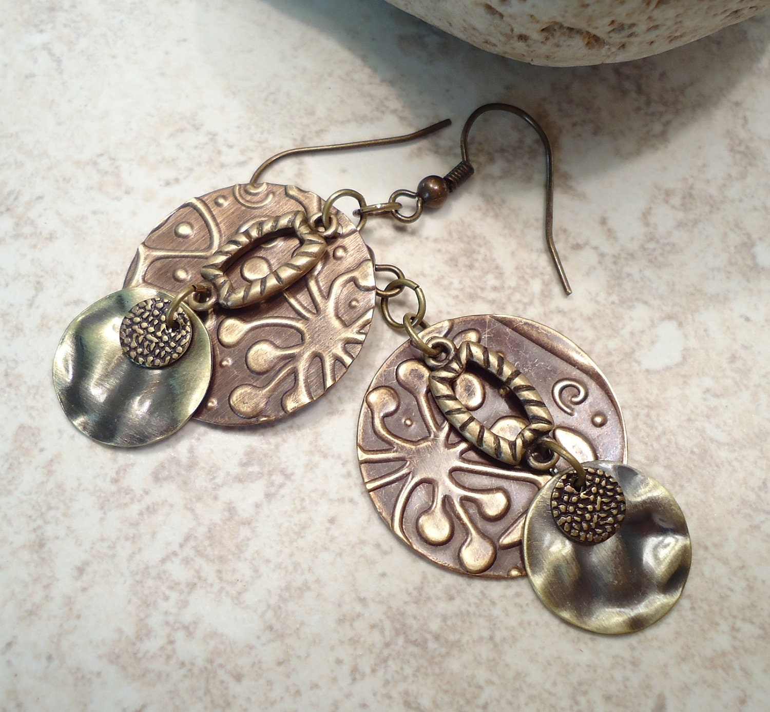 Layered Embossed Brass Boho Earrings - FromEarToEar