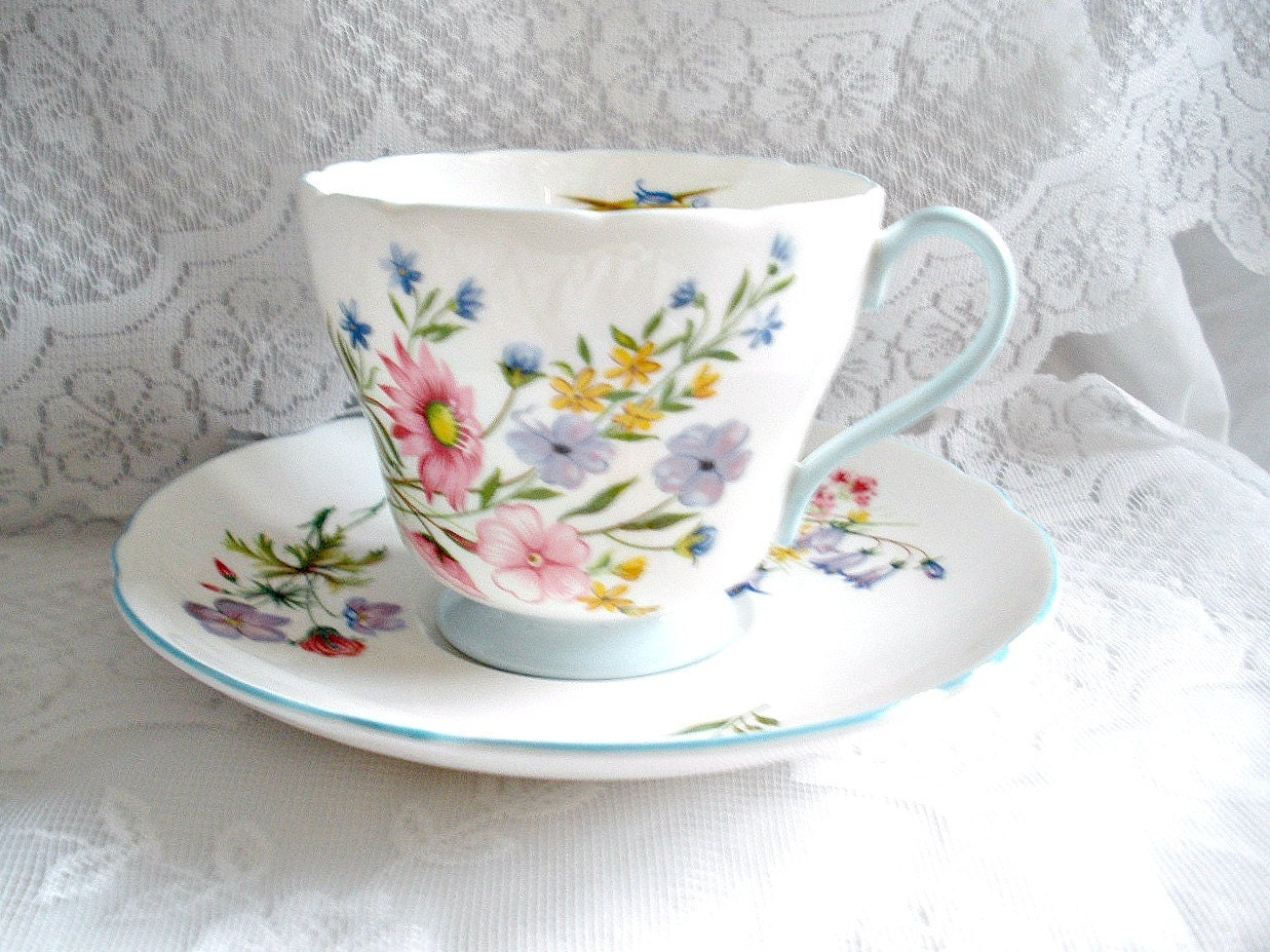Vintage Shelley China Teacup and Saucer Wildflowers - TeaTimeWithJane
