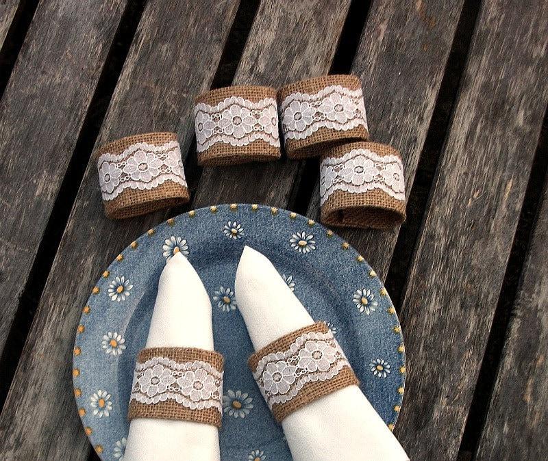 Serapilheira anéis de guardanapo com Vintage White Lace conjunto de seis