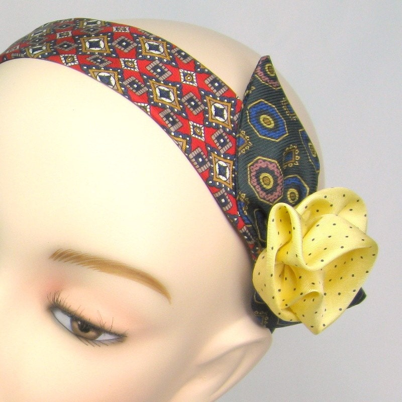 Necktie Hairband with Floral Accent