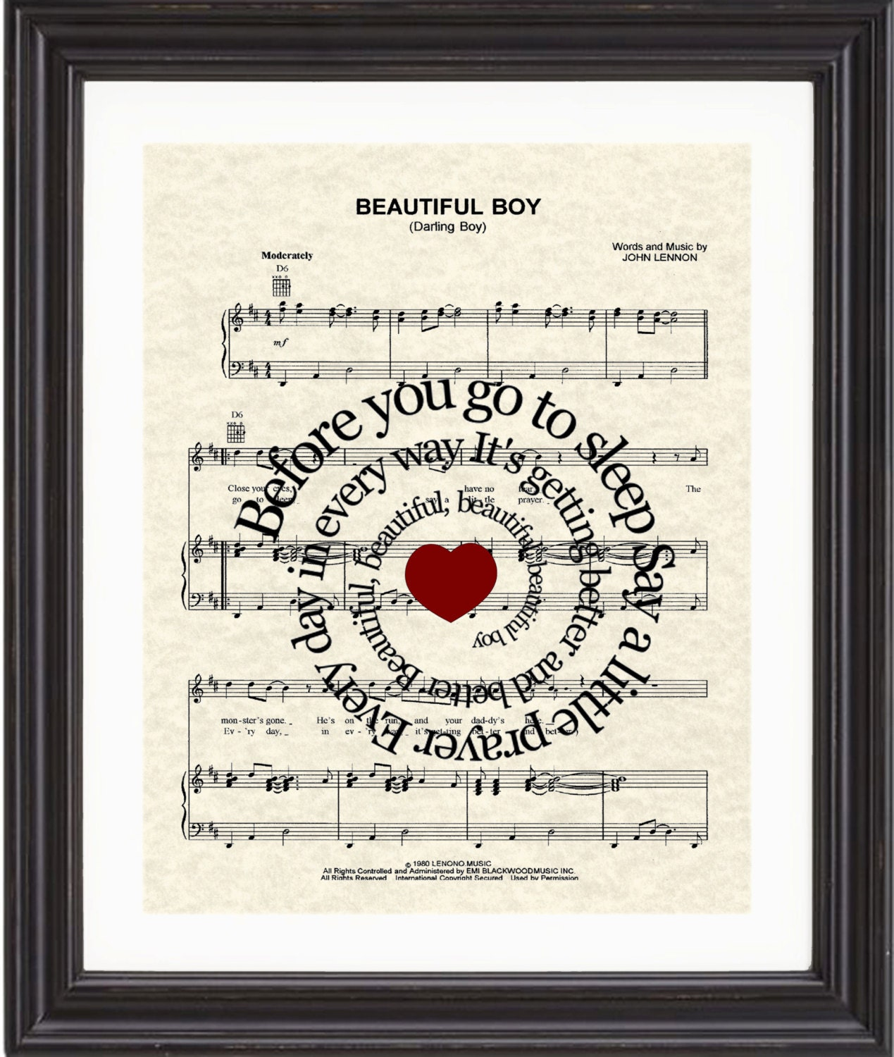 Beautiful Boy, Art, Print, John Lennon, Spiral, Song Lyric, Sheet Music, New Baby, Nursery - TexasGirlDesigns