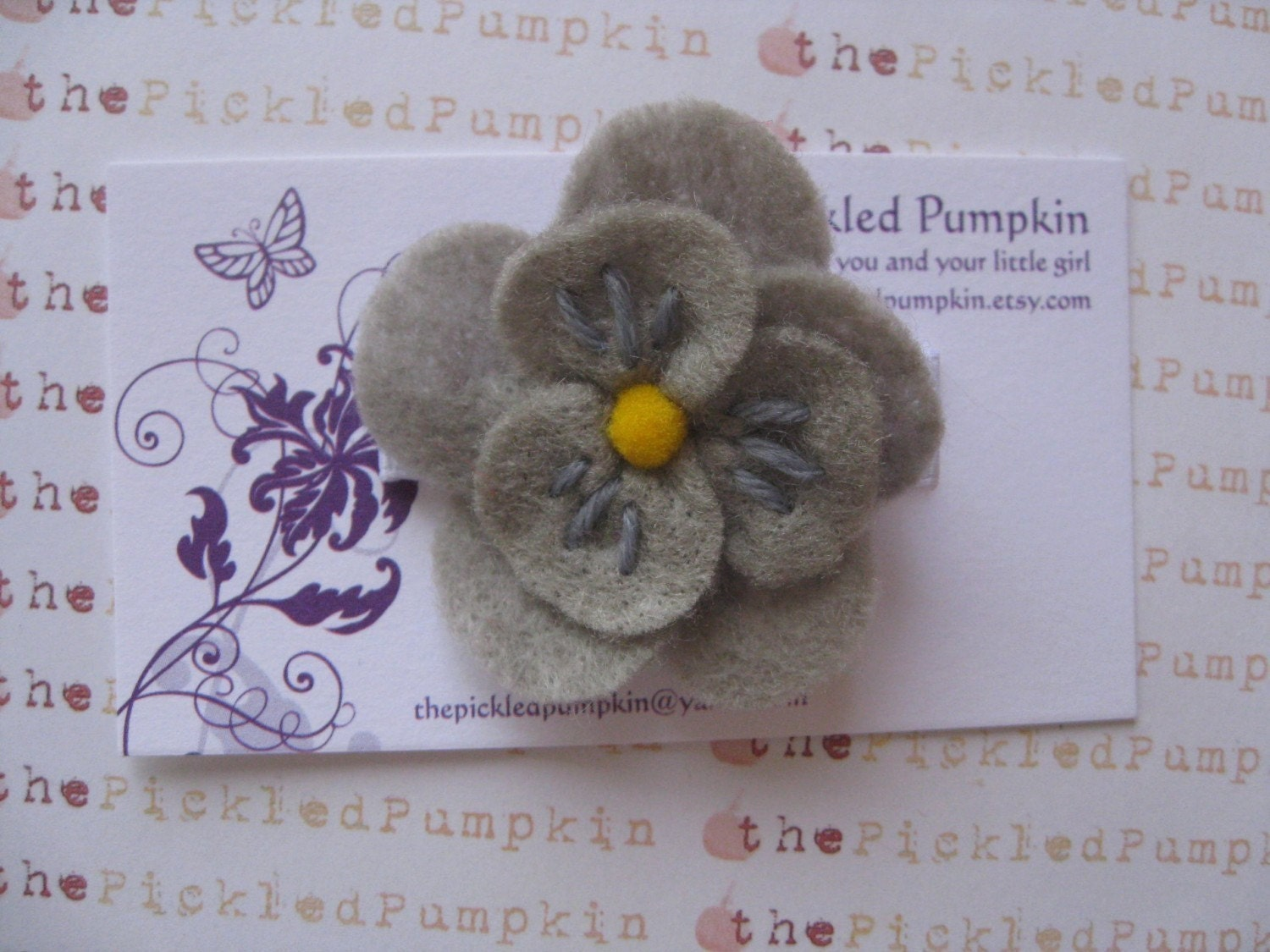 Simple Gray Felt Flower Clip