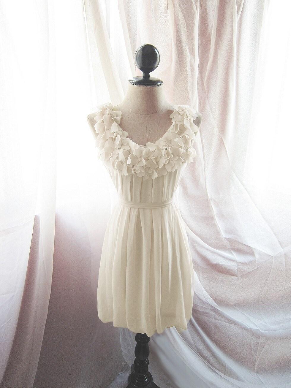 Romantic Creamy Pale Petal Cream Havisham Winter Snow Heart Cutouts Flirty Fun Doll Chiffon Flowy Dress