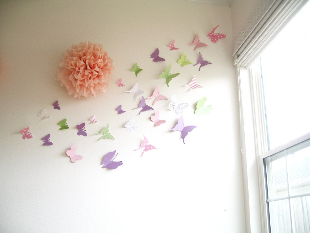 30 butterflies 3d butterfly wall art 3d by simplychiclily for Baby shower wall decoration
