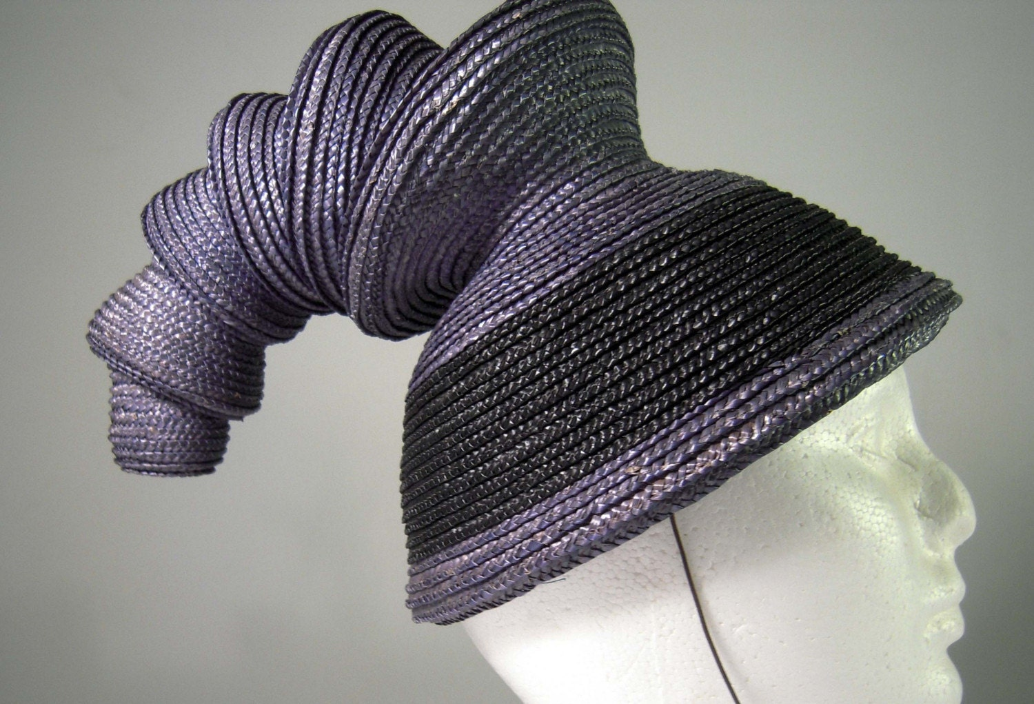 Black and Purple Straw Accordian Hat