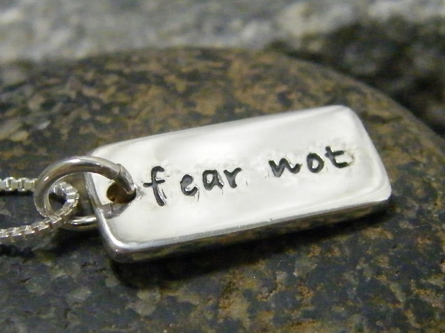 fear not hand stamped tiny dog tag sterling silver necklace