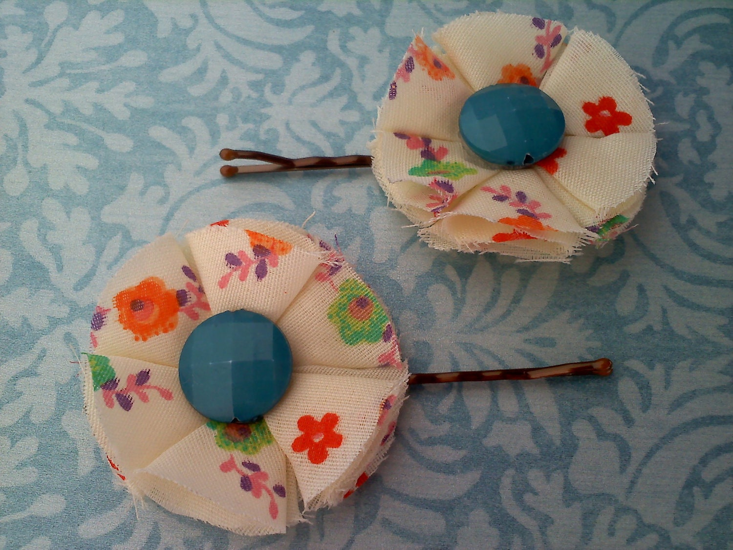 60's vintage floral print bobby pins with teal bead