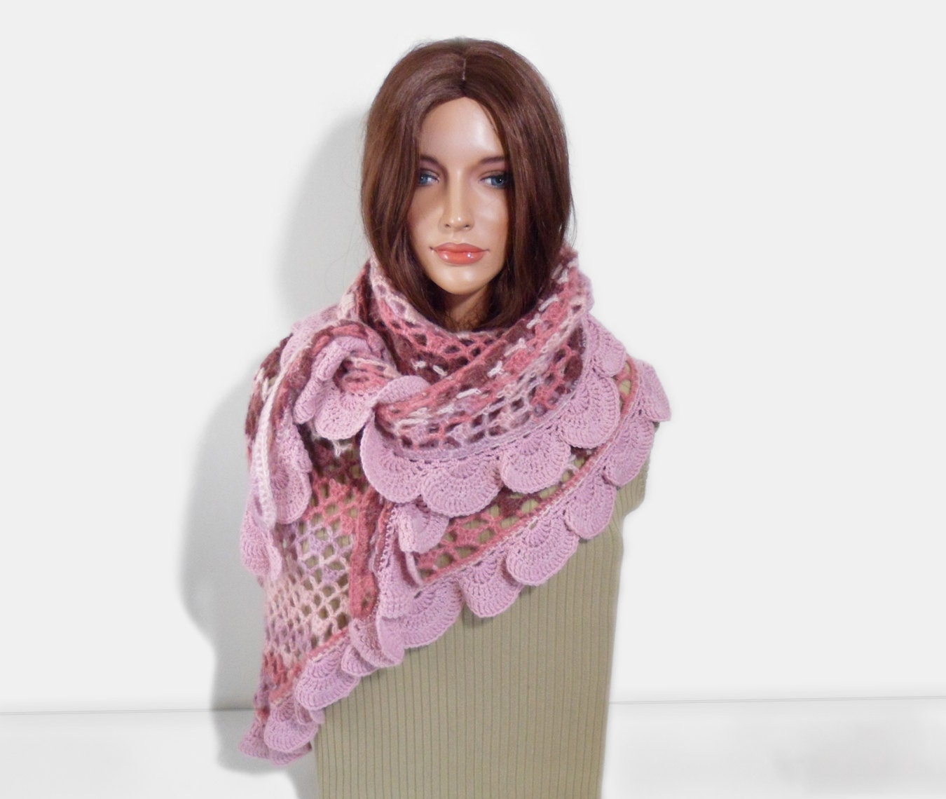 Crochet Shawl, Handmade Triangle Shawl, Winter Accessory in Pink - UnlimitedCraftworks