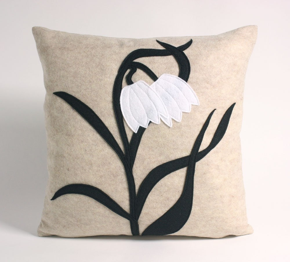 FRITILLARIES - oatmeal and black 16 inch recycled felt applique pillow
