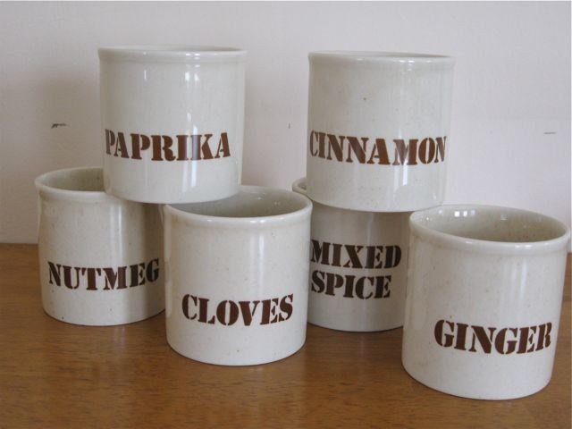 Vintage Housewares -  Spice Jars - Crocks