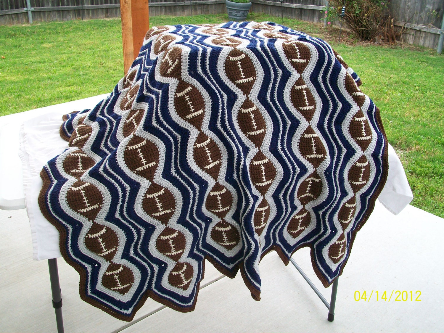 Crochet Pattern For Sports Blanket : Made to Order Football Team School Colors by ...