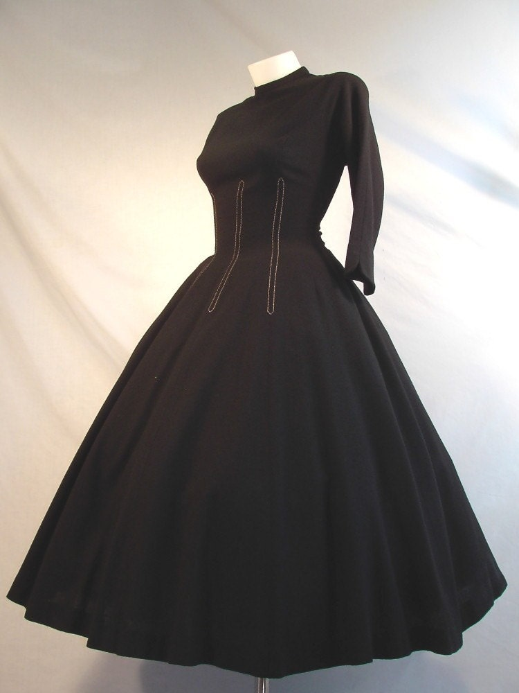 Vintage 40's Black Wool Day Dress Full Swing Skirt 140 inch Sweep Nipped Waist Stitching Batwing Dolmen 3/4 Length Sleeve
