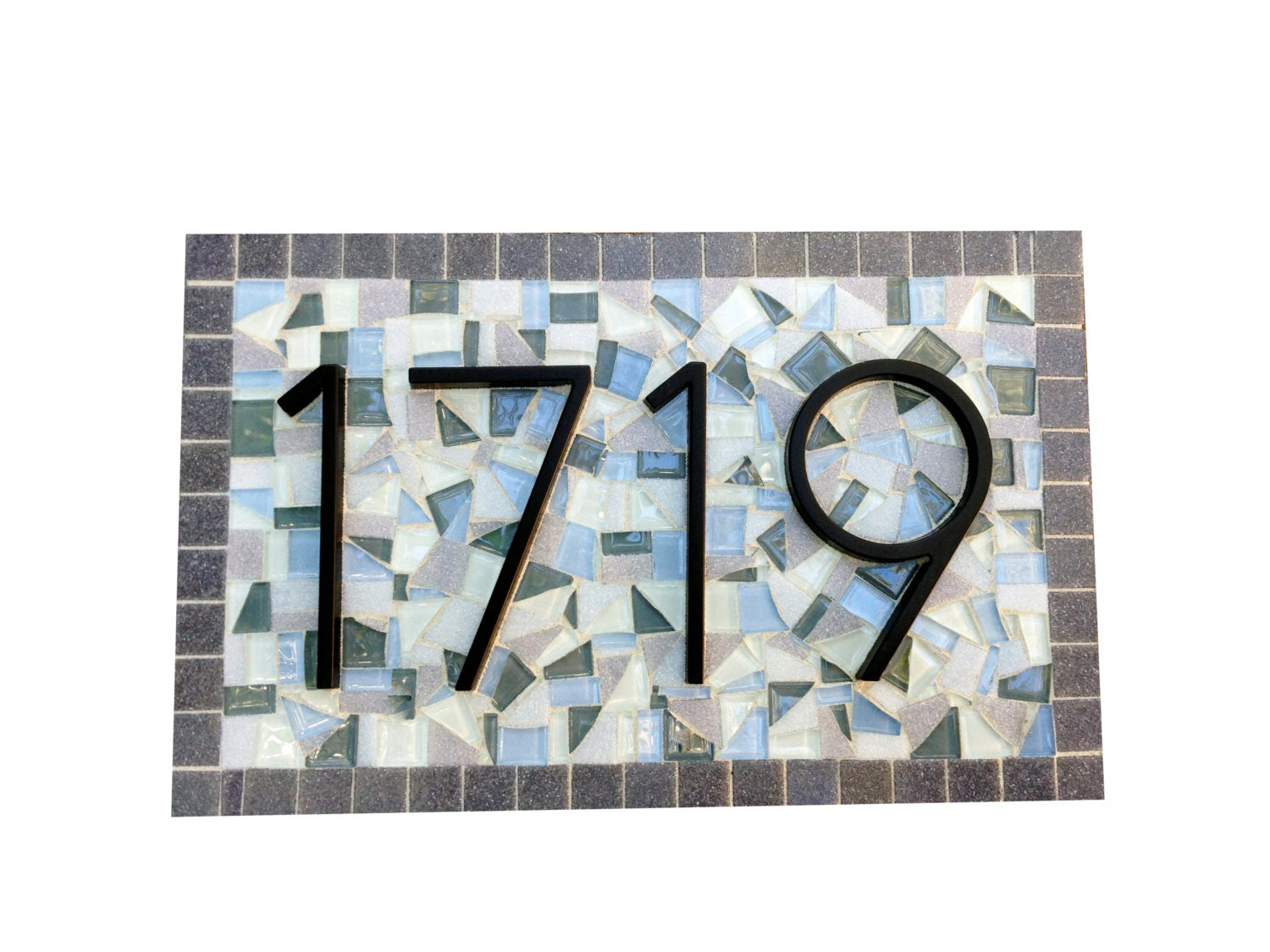 mosaic house numbers address sign by greenstreetmosaics on