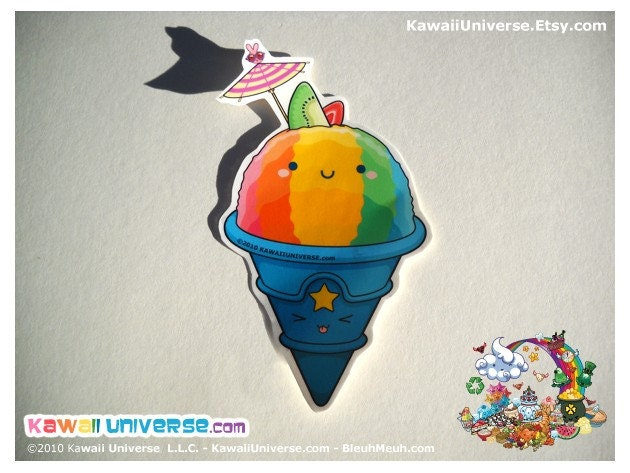 Kawaii Rainbow Shaved Ice  Vinyl Sticker Cling