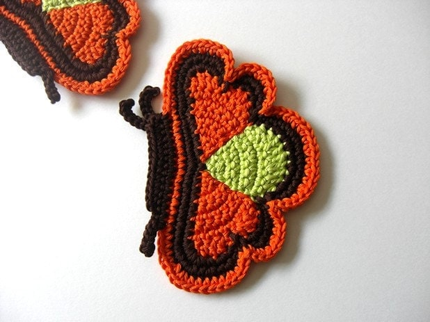 Orange brown green Butterfly Coasters . Beverage Drink Tea Coffee Nature Decor Crochet Cute Collection - Set of 2