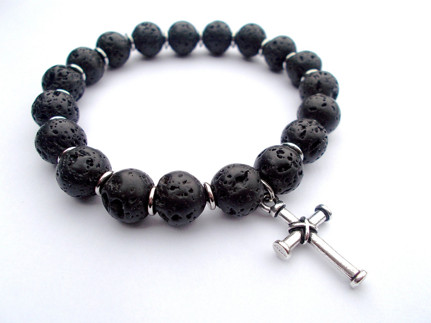 Men's bracelet lava stone, Old Rugged Cross