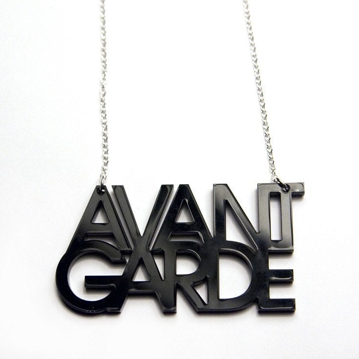 avant garde typography acrylic necklace (black)