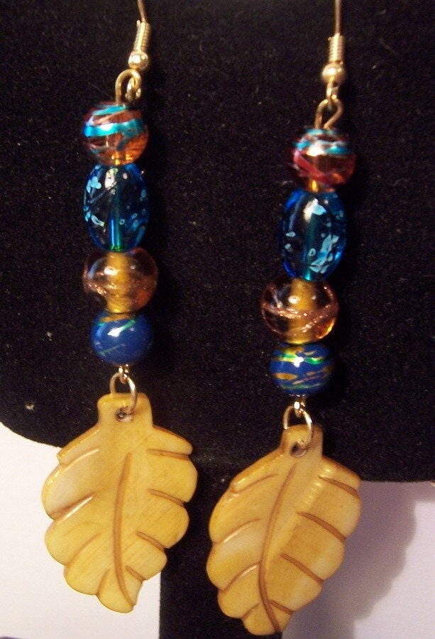 Dangling Leaf's with Blue Beaded Drops of Jewels Earrings DAWG TEAM