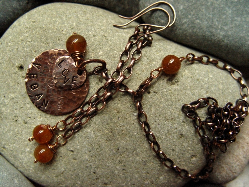VEGAN LOVE copper and carnelian necklace earrings set