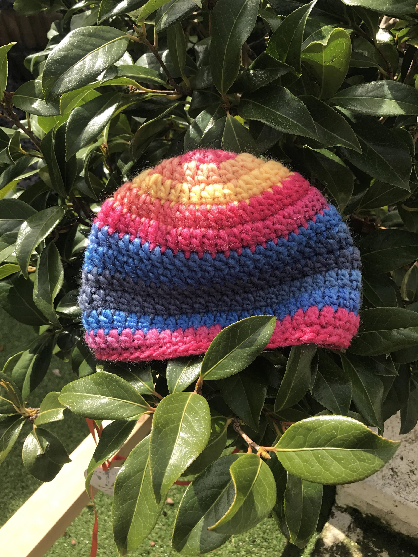 Crochet rainbow coloured childrens beanie 612 crochet hat new age hat alpaca hat toddler winter hat skull cap
