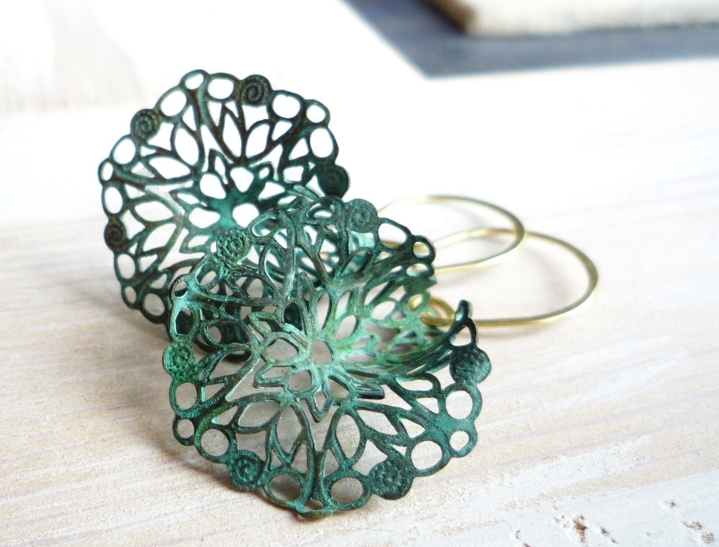 Verdigris lacy lily earrings - zsb creations