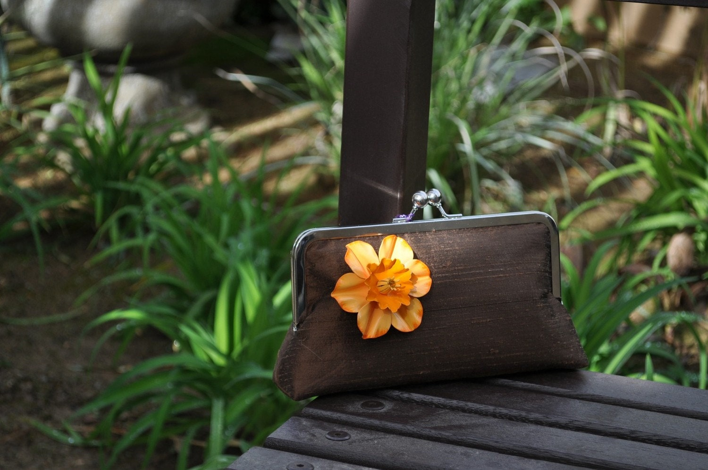 Clutch Silk Purse with Vintage Brooch - Brown, Ivory, Orange