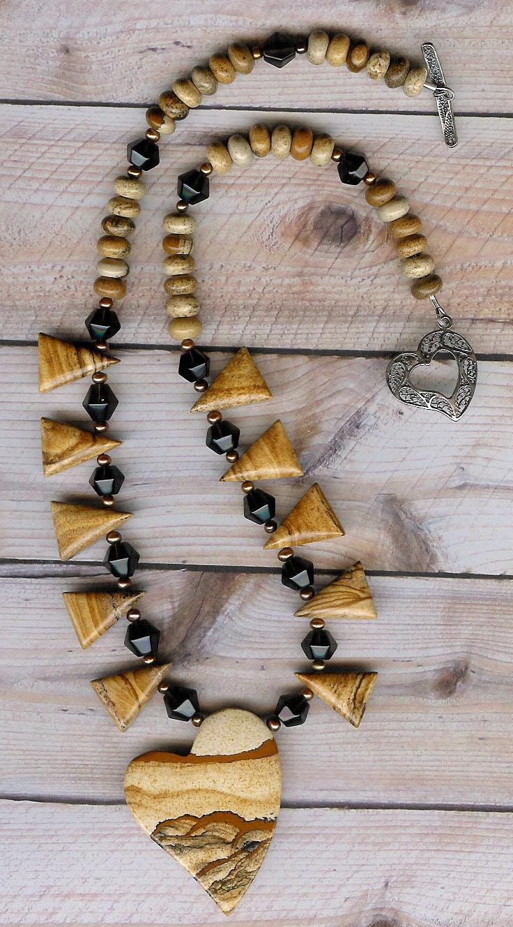 Love Triangles - African Queen Picture Jasper, Smoky Quartz, Freshwater Pearls, Sterling Silver Necklace - ChicStatements