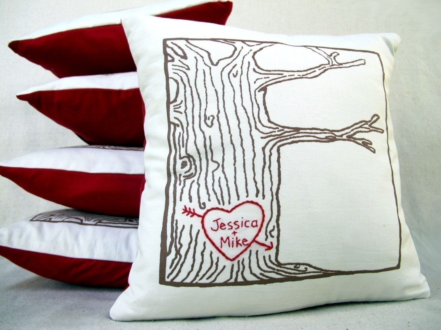 custom heart -- tree print pillow cover -- personalized with your names or initials