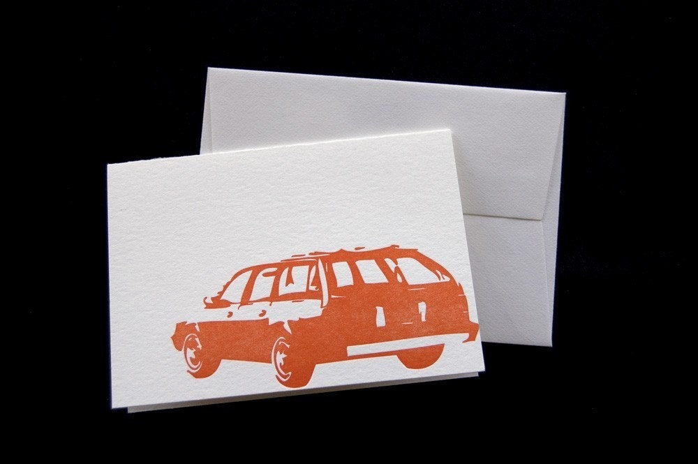 Chevy Station Wagon, letterpress card