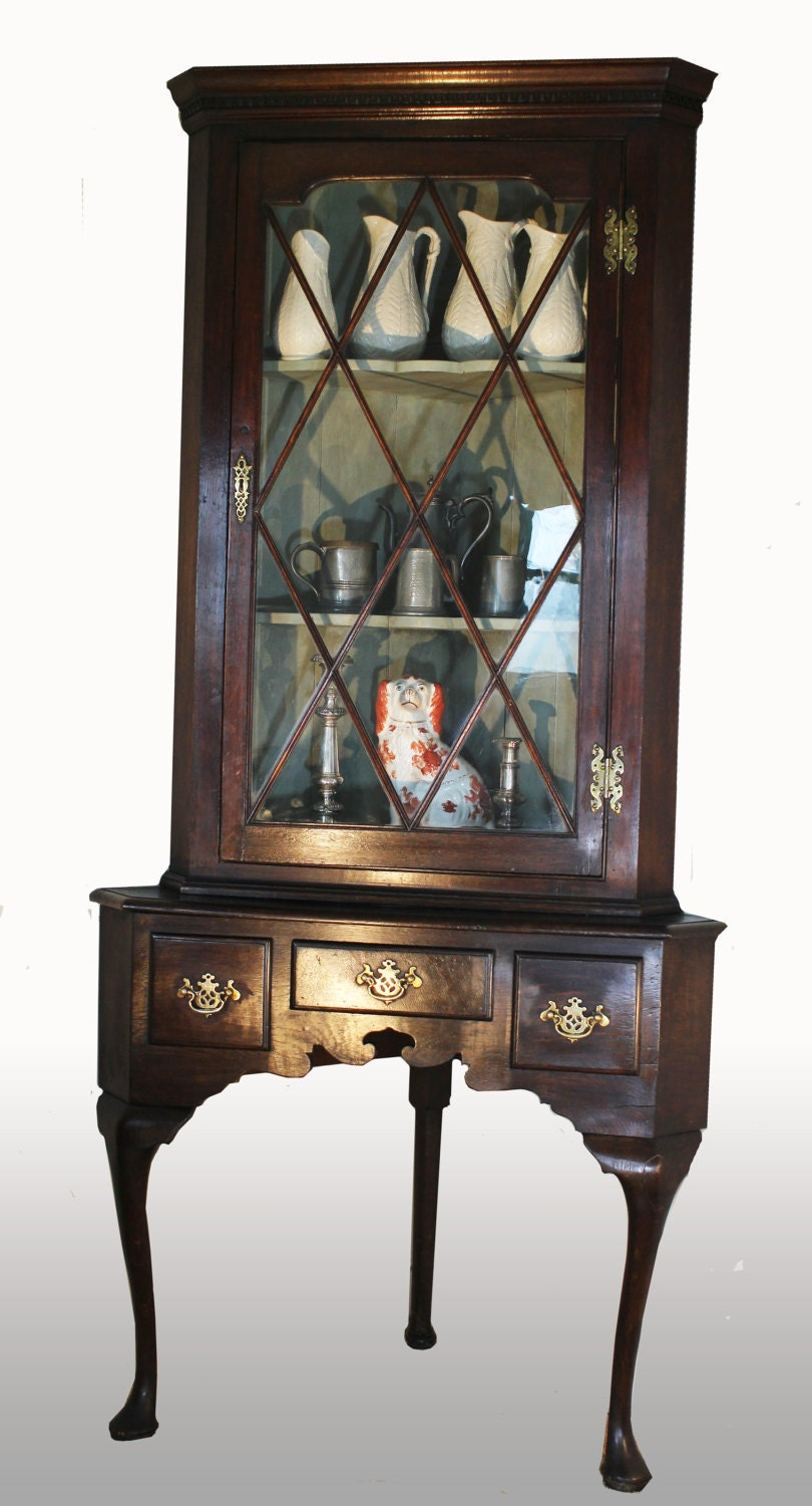 19thC Oak Corner display cabinet on cabriole leg stand