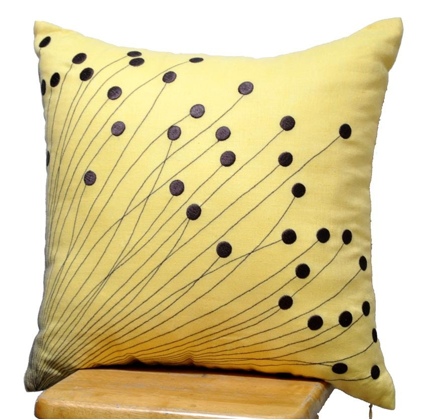 Yellow Brown Throw Pillows : Yellow Flower Burst Pillow CoverDecorative Pillow for by KainKain