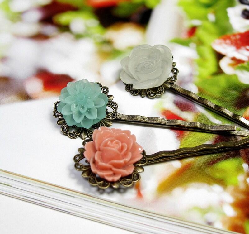 Coral, White, Aqua, Flower Bobby Pins, Hair Accessories