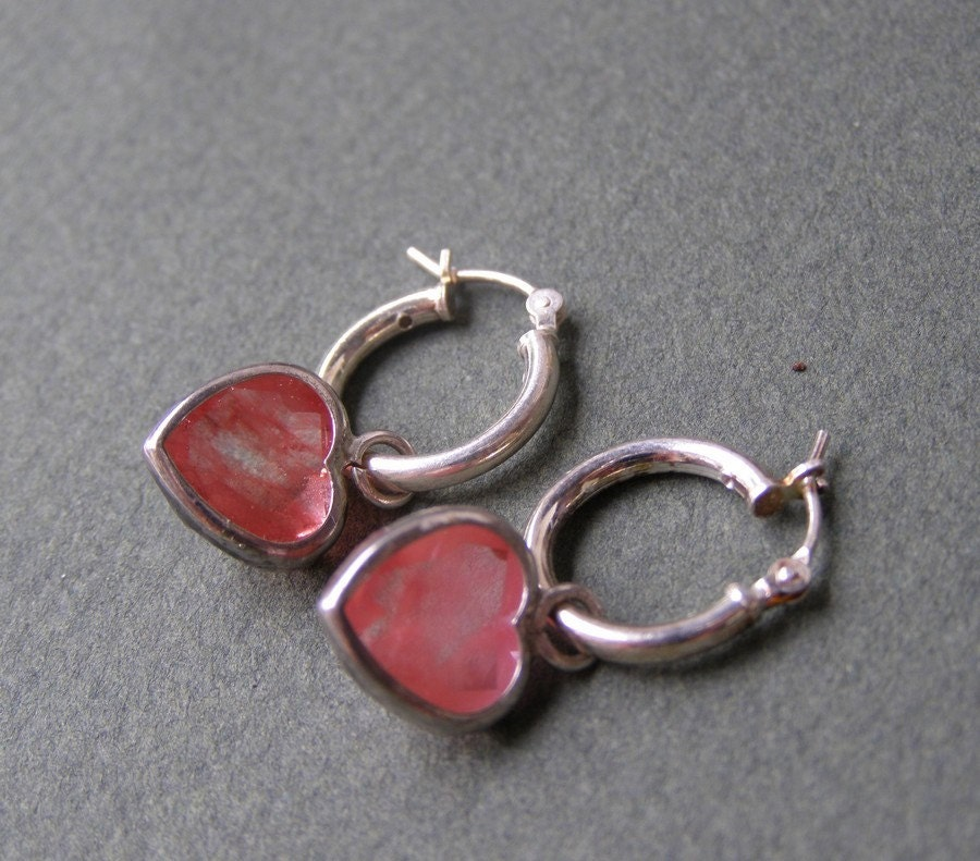 Valentine's Day - Red Heart earrings - Gift For Her